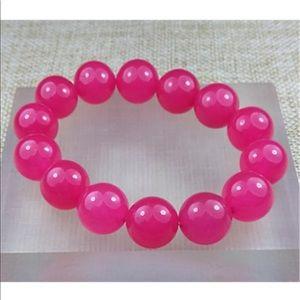 3 For $18 14mm Natural Pink Jade Bead Bracelet